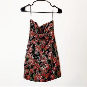 Zara Woman Metallic Weave Floral Garden Mini Dress